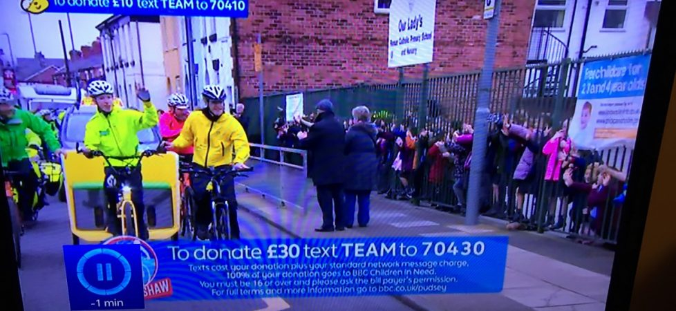 Watch us cheer the Rickshaw on the BBC for Children in Need Nov 2018